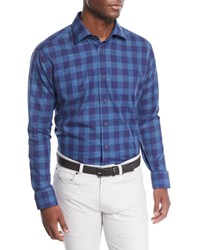 Neiman Marcus Large Washed Plaid Sport Shirt Blue Pattern