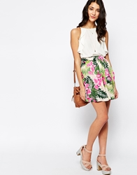 Pieces Floral Print Skirt Flower