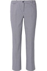 Michael Kors Collection Cropped Gingham Cotton Blend Straight Leg Pants Blue