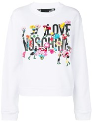 Love Moschino Logo Floral Embroidered Sweatshirt White