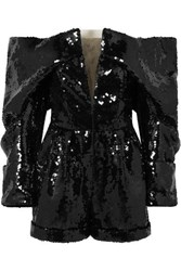 Balmain Off The Shoulder Sequined Tulle Playsuit Black