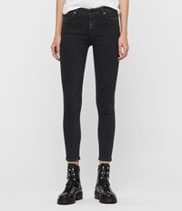 Allsaints Grace Leopard Cropped Mid Rise Jeans Washed Black