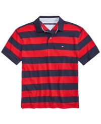 Tommy Hilfiger Men's Big And Tall Logan Striped Cotton Polo Tango Red
