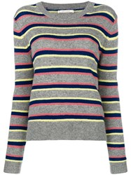 Chinti And Parker Striped Jumper Grey