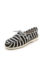Band Of Outsiders X Sperry Striped Boat Shoes Black White