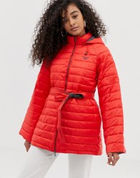 Emporio Armani Quilted Coat With Contrast Lining Rosso Vulcano Red