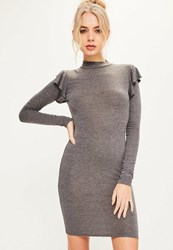 Missguided Grey Brushed Nickel Frill Shoulder High Neck Bodycon Dress