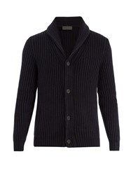 Iris Von Arnim Shawl Collar Ribbed Cardigan Navy