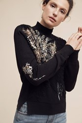 Knitted And Knotted Beaded Fete Turtleneck Jumper Black