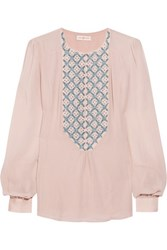 Tory Burch April Sequin Embellished Silk Chiffon Top Pastel Pink