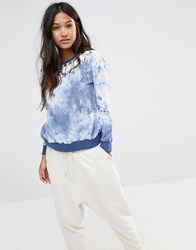 Glamorous Oversized Crew Neck Sweatshirt With Lace Up Detail In Tye Dye Blue