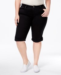 Style And Co Plus Size Curvy Black Wash Denim Skimmer Shorts Only At Macy's