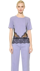 Wes Gordon Lace Band Blouse French Blue