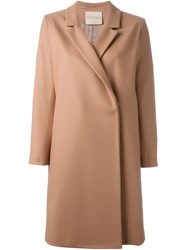 Erika Cavallini Semi Couture Notched Lapel Coat Pink And Purple
