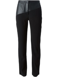 Emanuel Ungaro Leather Panel Trousers Black