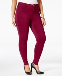 Celebrity Pink Trendy Plus Size Skinny Jeans Burnt Red