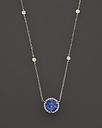 Bloomingdale's Tanzanite And Diamond Halo Pendant Necklace With 4 Stations In 14K White Gold 16 Blue White