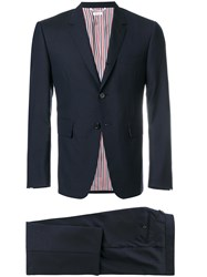 Thom Browne Classic Suit In Super 120'S Plain Weave Blue