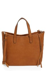 Sole Society Court Whipstitch Tote Brown Cognac