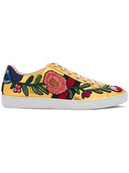 Gucci 'Ace' Floral Embroidered Sneakers Women Leather Patent Leather Rubber 40 Metallic
