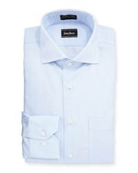 Neiman Marcus Classic Fit Non Iron Diamond Print Dress Shirt Light Blue