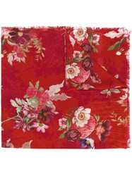 Twin Set Floral Print Scarf Red