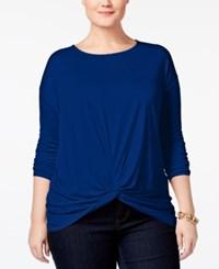 Inc International Concepts Plus Size Knotted Top Only At Macy's Tartan Blue