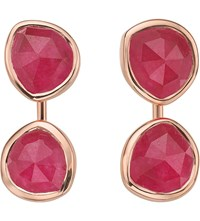 Monica Vinader Siren Jacket 18Ct Rose Gold Plated And Pink Quartz Earrings