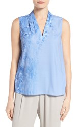 T Tahari Women's Edie Print Pleat V Neck Blouse