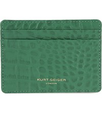 Kurt Geiger Crocodile Effect Leather Card Holder Green Croc