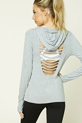 Forever 21 Active Hooded Ladder Cutout Top Heather Grey
