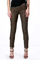 Boohoo Pull On Leather Look Jeggings Khaki