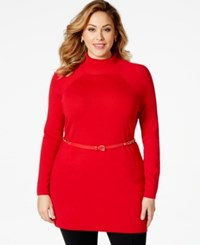Inc International Concepts Plus Size Mock Turtleneck Belted Tunic Sweater Only At Macy's Real Red
