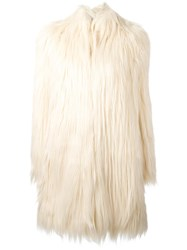 Giamba Fur Effect Coat Nude Neutrals