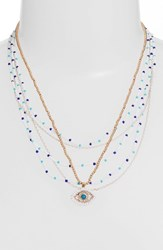 Rebecca Minkoff Layered Beads Evil Eye Necklace Turquoise Multi