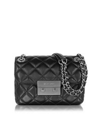 Michael Kors Sloan Small Quilted Leather W Brushed Nickel Chain Shoulder Bag Black