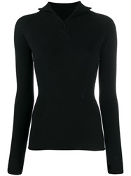 Barrie Zipped Turtleneck Knitted Top Black