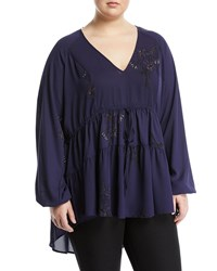 Melissa Mccarthy Seven7 Floral Tiered Peasant Blouse Multi