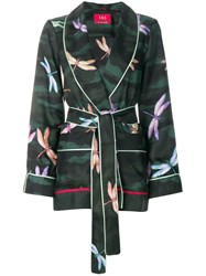 F.R.S For Restless Sleepers Tie Waist Dragonfly Print Shirt Green