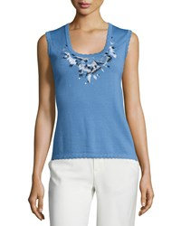 Carolina Herrera Scoop Neck Embroidered Tank Liberty Blue