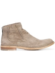 Officine Creative 'Softy' Boots Men Leather Suede Wood Rubber 42 Grey
