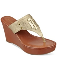 Tommy Hilfiger Madison Platform Wedge Thong Sandals Women's Shoes Summer Gold