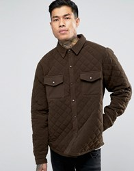 Another Influence Quilted Shirt Jacket Green