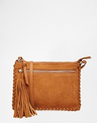 Oasis Cross Body Bag With Whip Stitching Tan