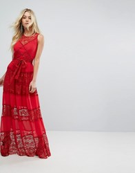 Body Frock Bodyfrock Tiered Lace Maxi Dress With Tie Belt Red