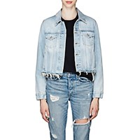 Off White C O Virgil Abloh Distressed Denim Trucker Jacket Lt. Blue