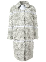 Bottega Veneta Faux Fur Panelled Coat Grey