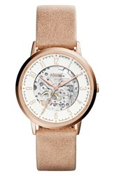 Fossil Vintage Muse Automatic Leather Strap Watch 40Mm Brown White Rose Gold