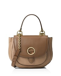 Michael Michael Kors Medium Isadore Two Tone Top Handle Messenger Dark Khaki Dark Caramel Gold