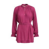 Wtr Pink Belted Tunic Blouse Pink Purple